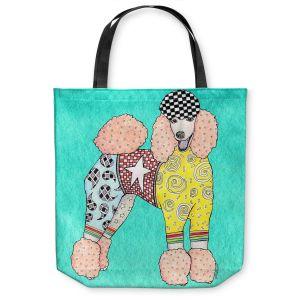 Unique Shoulder Bag Tote Bags | Marley Ungaro Poodle Turquoise