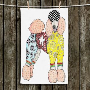 Unique Hanging Tea Towels | Marley Ungaro - Poodle Dog White | Abstract Colorful Poodle French Toy