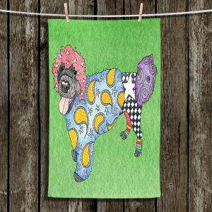 Unique Hanging Tea Towels | Marley Ungaro - Portuguese Water Dog Green | Dogs Animals Pets Colorful Funky Portuguese Water Dog