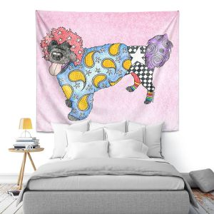 Artistic Wall Tapestry   Marley Ungaro - Portuguese Water Dog Pastel Pink