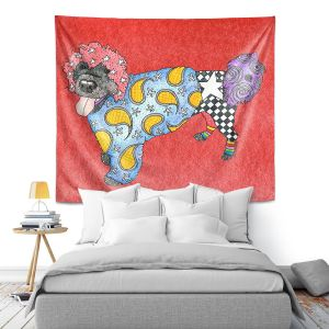 Artistic Wall Tapestry | Marley Ungaro - Portuguese Water Dog Watermelon