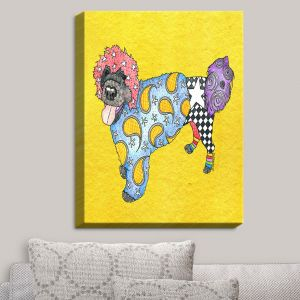 Decorative Canvas Wall Art   Marley Ungaro - Portuguese Water Dog Yellow   Dogs Animals Pets Colorful Funky Portuguese Water Dog