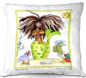 Decorative Outdoor Patio Pillow Cushion | Marley Ungaro - Praying Mermaid