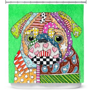 Unique Shower Curtain from DiaNoche Designs by Marley Ungaro - Pug Dog Kelly Green