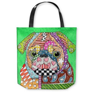 Unique Shoulder Bag Tote Bags | Marley Ungaro Pug Dog Kelly Green