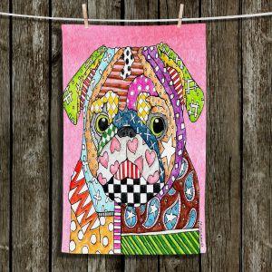 Unique Hanging Tea Towels | Marley Ungaro - Pug Dog Light Pink | Abstract Colorful Pug Dog