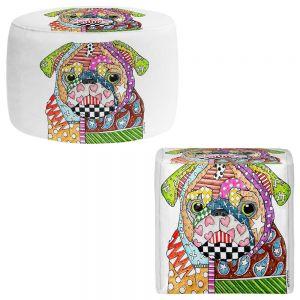 Round and Square Ottoman Foot Stools   Marley Ungaro - Pug Dog White