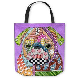 Unique Shoulder Bag Tote Bags | Marley Ungaro Pug Dog Violet