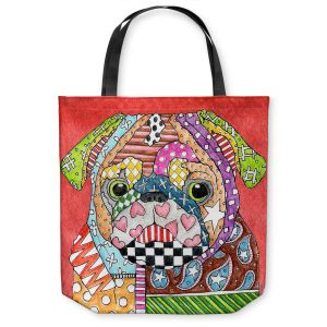 Unique Shoulder Bag Tote Bags | Marley Ungaro Pug Dog Watermelon