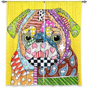 Decorative Window Treatments | Marley Ungaro Pug Dog Yellow