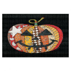 Decorative Floor Covering Mats | Marley Ungaro - Pumpkin Black | Halloween spooky pattern abstract