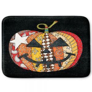 Decorative Bathroom Mats   Marley Ungaro - Pumpkin Black   Halloween spooky pattern abstract