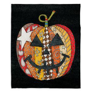 Decorative Fleece Throw Blankets | Marley Ungaro - Pumpkin Black | Halloween spooky pattern abstract