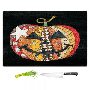 Artistic Kitchen Bar Cutting Boards | Marley Ungaro - Pumpkin Black | Halloween spooky pattern abstract