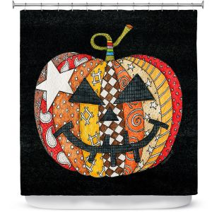 Premium Shower Curtains | Marley Ungaro - Pumpkin Black | Halloween spooky pattern abstract