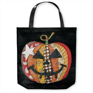 Unique Shoulder Bag Tote Bags | Marley Ungaro - Pumpkin Black | Halloween spooky pattern abstract