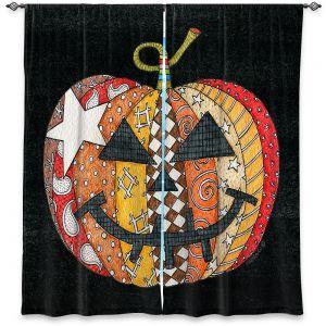 Decorative Window Treatments | Marley Ungaro - Pumpkin Black | Halloween spooky pattern abstract