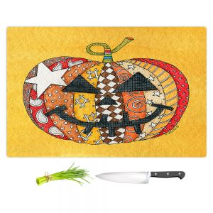 Artistic Kitchen Bar Cutting Boards | Marley Ungaro - Pumpkin Gold | Halloween spooky pattern abstract
