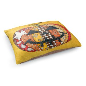 Decorative Dog Pet Beds | Marley Ungaro - Pumpkin Gold | Halloween spooky pattern abstract
