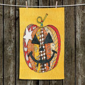 Unique Hanging Tea Towels | Marley Ungaro - Pumpkin Gold | Halloween spooky pattern abstract