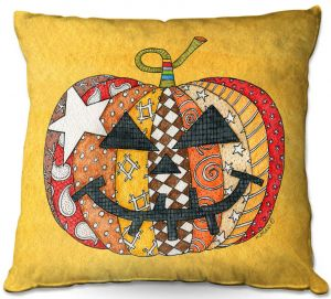 Throw Pillows Decorative Artistic | Marley Ungaro - Pumpkin Gold | Halloween spooky pattern abstract
