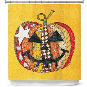 Premium Shower Curtains | Marley Ungaro - Pumpkin Gold | Halloween spooky pattern abstract