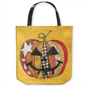 Unique Shoulder Bag Tote Bags | Marley Ungaro - Pumpkin Gold | Halloween spooky pattern abstract