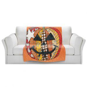 Artistic Sherpa Pile Blankets   Marley Ungaro - Pumpkin Orange   Halloween spooky pattern abstract
