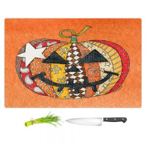 Artistic Kitchen Bar Cutting Boards | Marley Ungaro - Pumpkin Orange | Halloween spooky pattern abstract