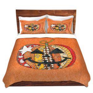 Artistic Duvet Covers and Shams Bedding | Marley Ungaro - Pumpkin Orange | Halloween spooky pattern abstract