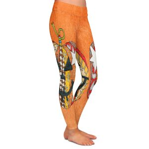 Casual Comfortable Leggings | Marley Ungaro - Pumpkin Orange | Halloween spooky pattern abstract