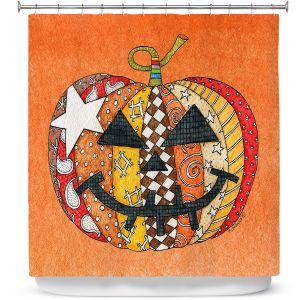Premium Shower Curtains | Marley Ungaro - Pumpkin Orange | Halloween spooky pattern abstract
