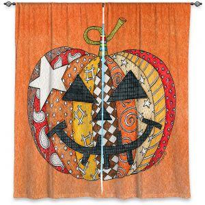 Decorative Window Treatments | Marley Ungaro - Pumpkin Orange | Halloween spooky pattern abstract