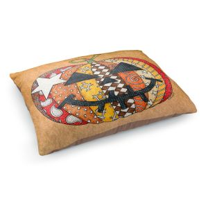 Decorative Dog Pet Beds   Marley Ungaro - Pumpkin Tan   Halloween spooky pattern abstract