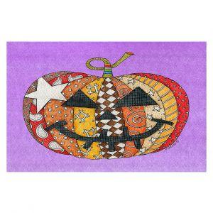 Decorative Floor Covering Mats   Marley Ungaro - Pumpkin Violet   Halloween spooky pattern abstract