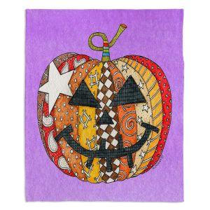 Decorative Fleece Throw Blankets | Marley Ungaro - Pumpkin Violet | Halloween spooky pattern abstract