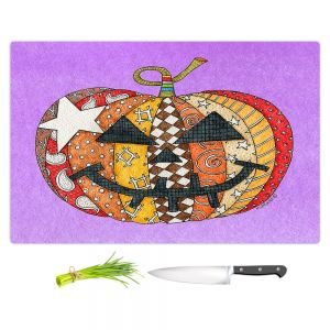 Artistic Kitchen Bar Cutting Boards | Marley Ungaro - Pumpkin Violet | Halloween spooky pattern abstract