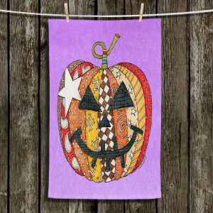Unique Hanging Tea Towels | Marley Ungaro - Pumpkin Violet | Halloween spooky pattern abstract