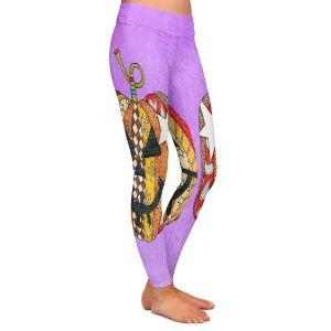 Casual Comfortable Leggings | Marley Ungaro - Pumpkin Violet | Halloween spooky pattern abstract