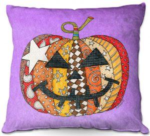 Decorative Outdoor Patio Pillow Cushion | Marley Ungaro - Pumpkin Violet | Halloween spooky pattern abstract
