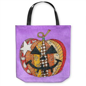 Unique Shoulder Bag Tote Bags | Marley Ungaro - Pumpkin Violet | Halloween spooky pattern abstract