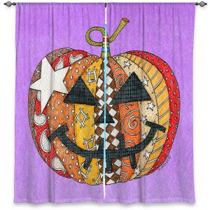 Decorative Window Treatments | Marley Ungaro - Pumpkin Violet | Halloween spooky pattern abstract