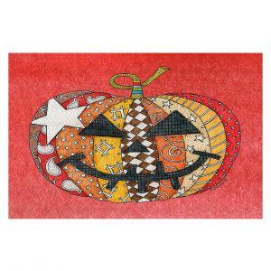 Decorative Floor Covering Mats   Marley Ungaro - Pumpkin Watermelon   Halloween spooky pattern abstract