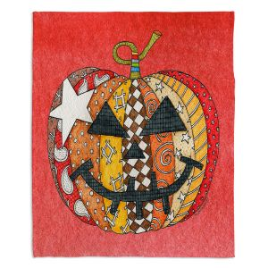 Artistic Sherpa Pile Blankets | Marley Ungaro - Pumpkin Watermelon | Halloween spooky pattern abstract