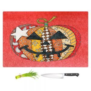 Artistic Kitchen Bar Cutting Boards | Marley Ungaro - Pumpkin Watermelon | Halloween spooky pattern abstract