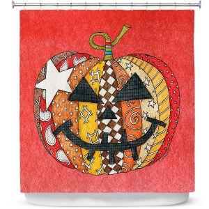Premium Shower Curtains | Marley Ungaro - Pumpkin Watermelon | Halloween spooky pattern abstract