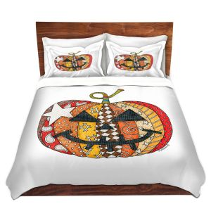Artistic Duvet Covers and Shams Bedding | Marley Ungaro - Pumpkin White | Halloween spooky pattern abstract