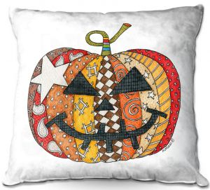 Throw Pillows Decorative Artistic | Marley Ungaro - Pumpkin White | Halloween spooky pattern abstract