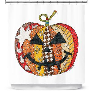Premium Shower Curtains | Marley Ungaro - Pumpkin White | Halloween spooky pattern abstract
