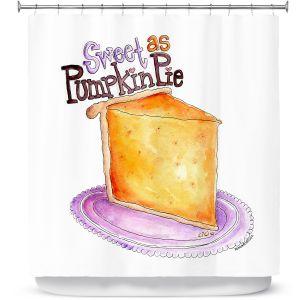 Premium Shower Curtains | Marley Ungaro - Pumpkin Pie | still life food sweets dessert